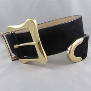 Accessories - Black belt with gold buckle size small